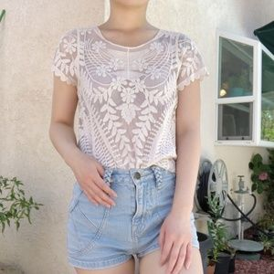 Express allover crochet lace mesh sheer blouse